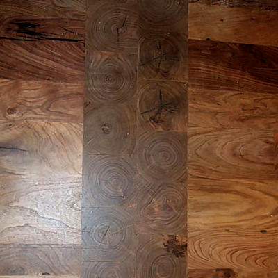 Mesquite Wood Flooring - Mesquite Floor with End-Grain Accent